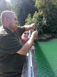 Fishing at Riffe Lake church campout 2014